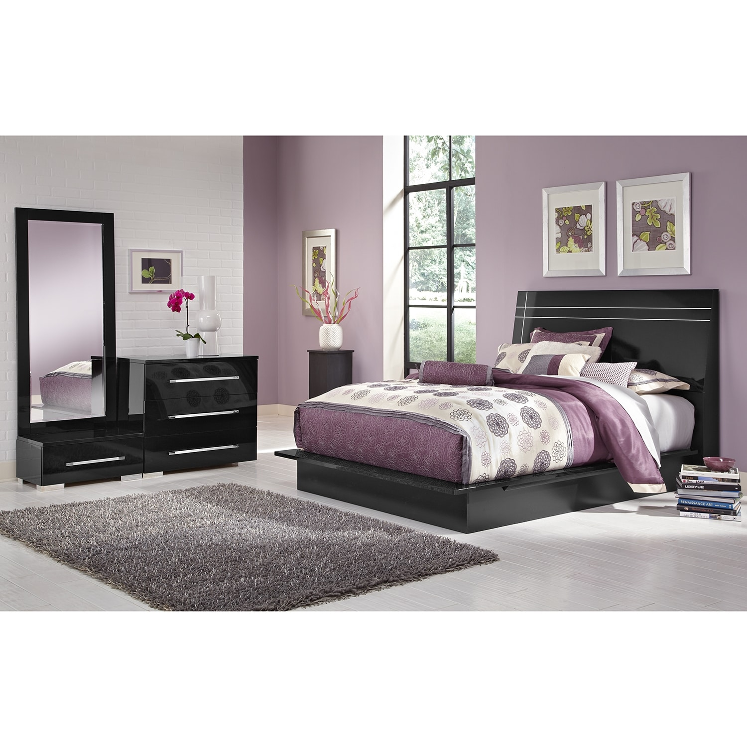 Dimora 5-Piece Queen Panel Bedroom Set - Black