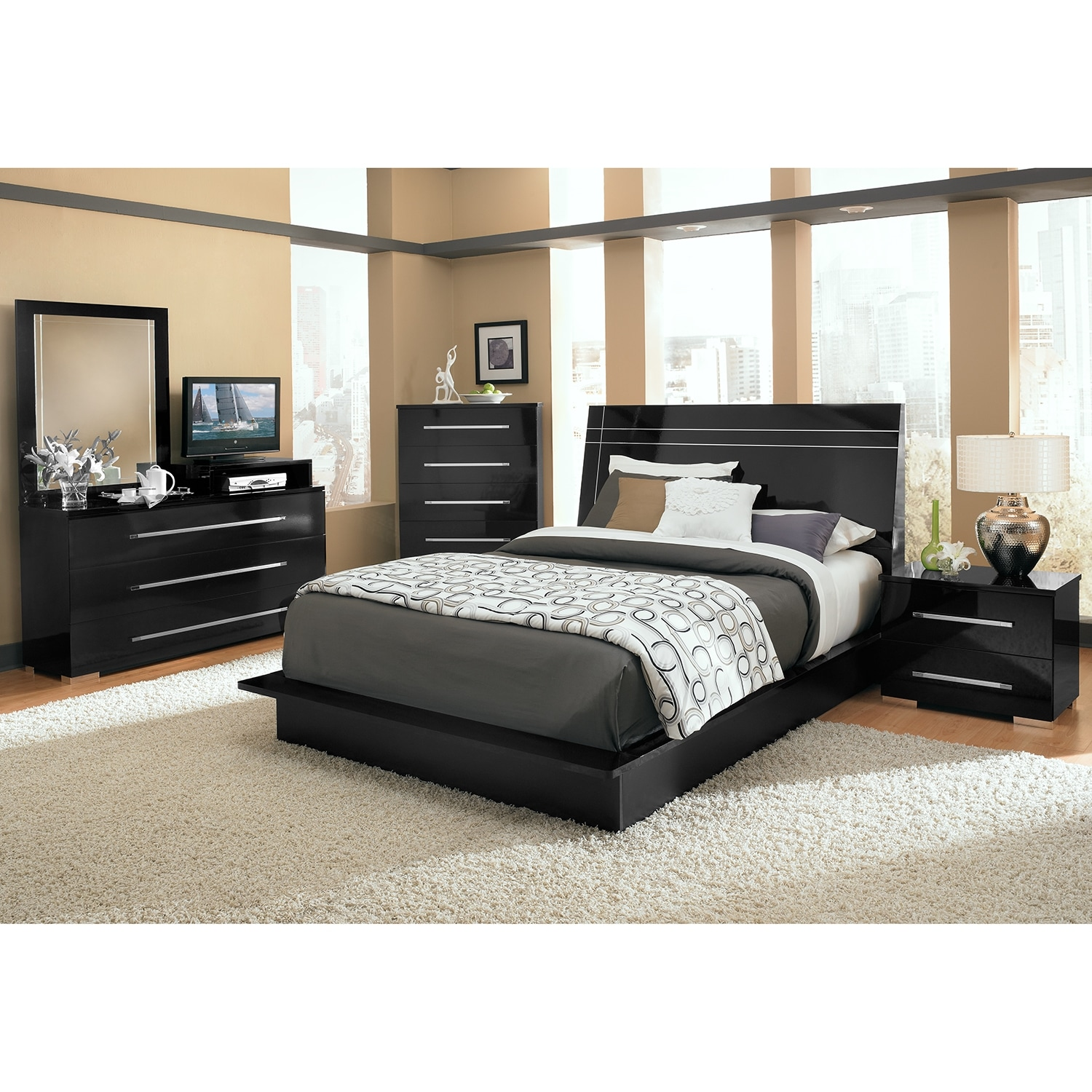 Dimora queen panel bed black value city furniture - Black queen bedroom furniture set ...