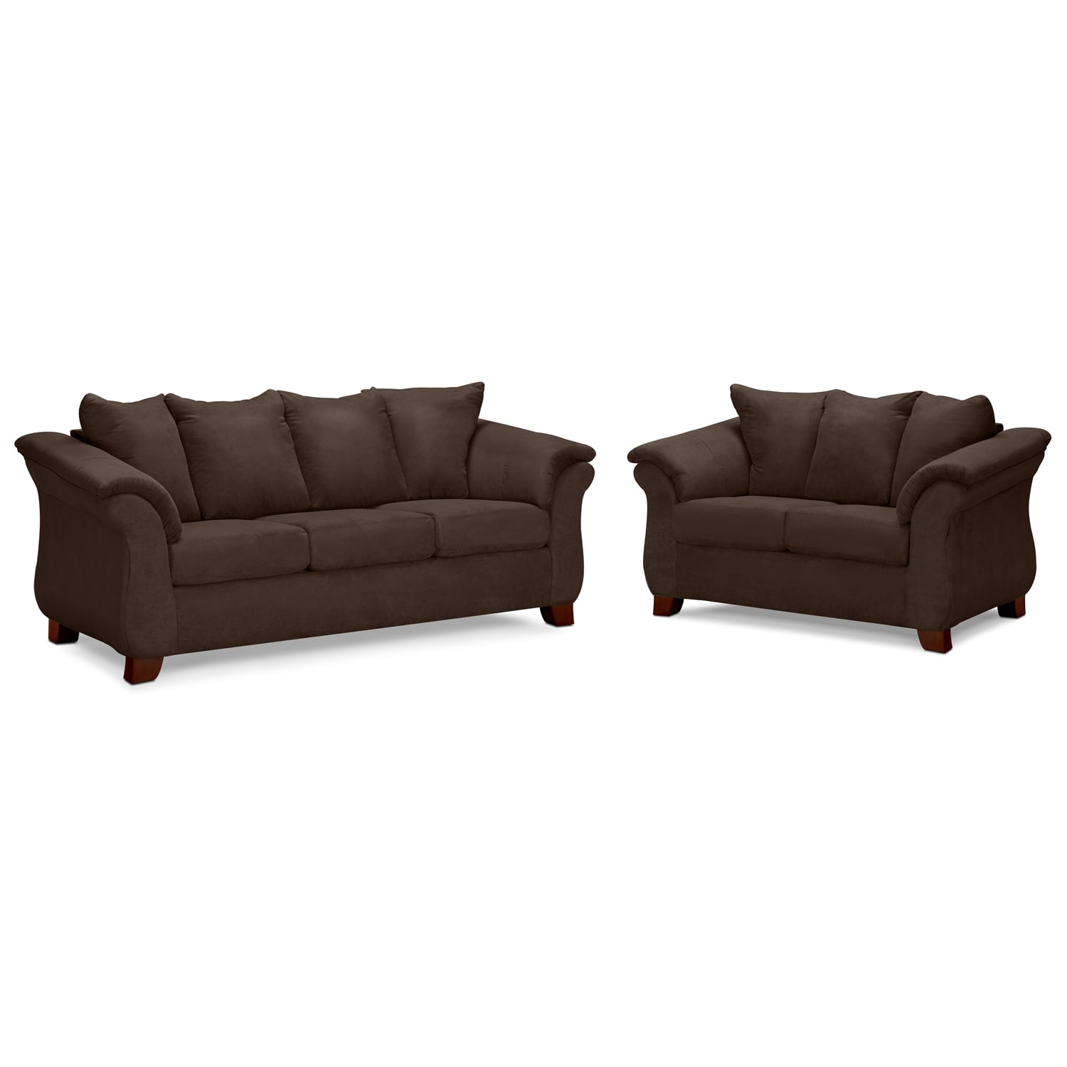 Living Room Furniture - Adrian Chocolate 2 Pc. Living Room