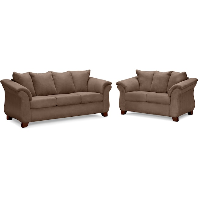 Living Room Furniture - Adrian Sofa and Loveseat Set - Taupe