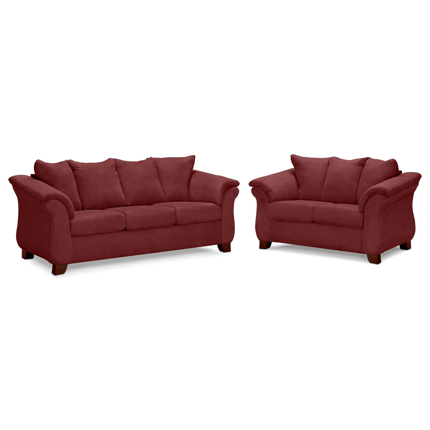 Adrian Sofa and Loveseat Set - Red
