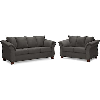 Adrian Sofa and Loveseat Set - Graphite