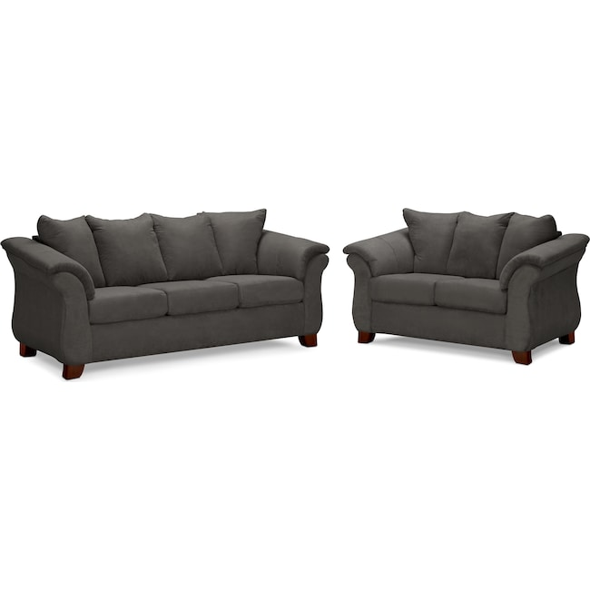 Living Room Furniture - Adrian Sofa and Loveseat Set - Graphite