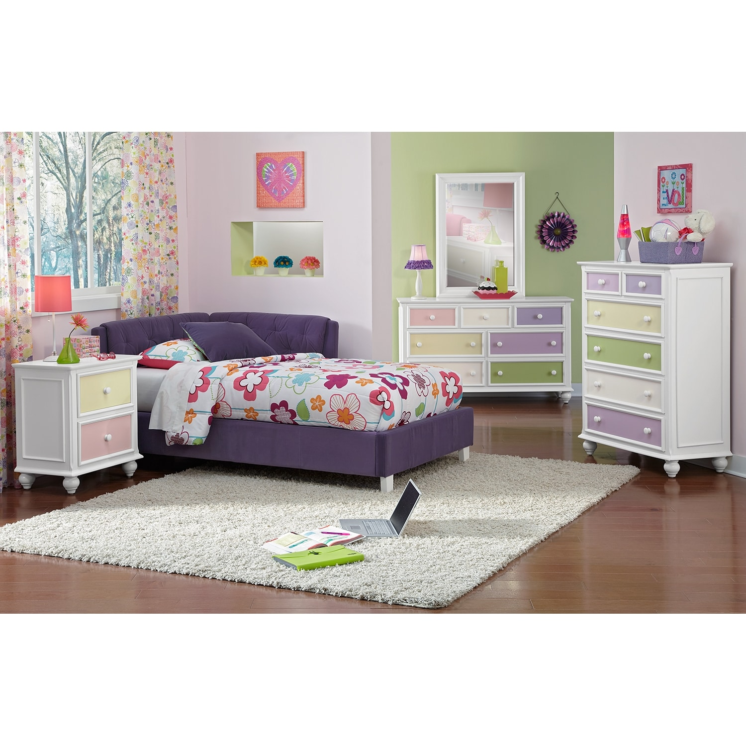 Jordan Full Corner Bed Purple Value City Furniture And