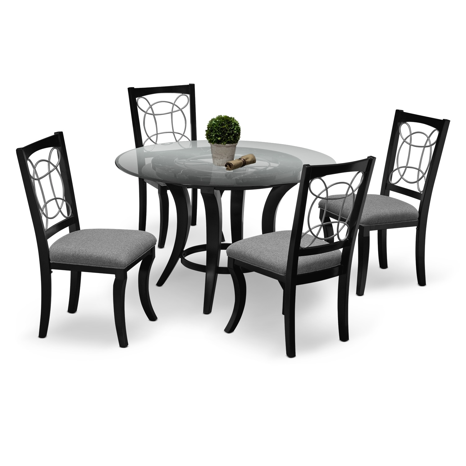 Dining Room Furniture - Pandora Table and 4 Chairs - Black