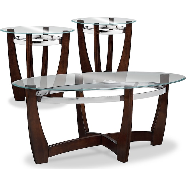Accent and Occasional Furniture - Alcove Cocktail Table and 2 End Tables - Merlot