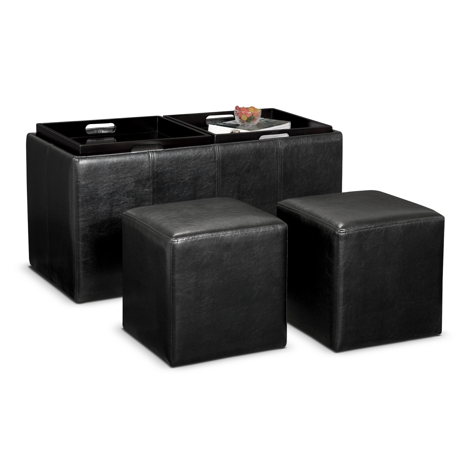 Tiffany 3-Piece Storage Ottoman with Trays - Black - Ottomans Living Room Seating Value City Furniture