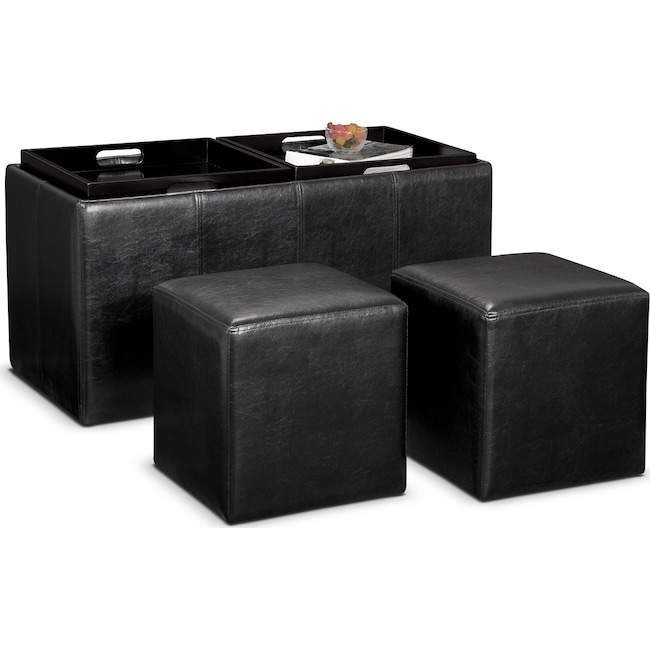 Accent and Occasional Furniture - Tiffany 3-Piece Storage Ottoman with Trays  - Black - Tiffany 3-Piece Storage Ottoman With Trays - Black Value City