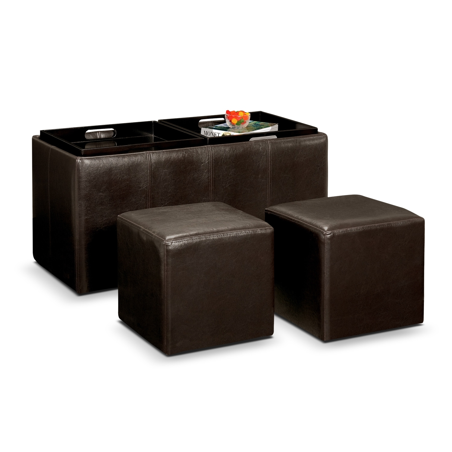Tiffany 3 Piece Storage Ottoman With Trays Brown Value