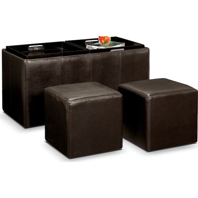 Accent and Occasional Furniture - Tiffany 3-Piece Storage Ottoman with Trays - Brown