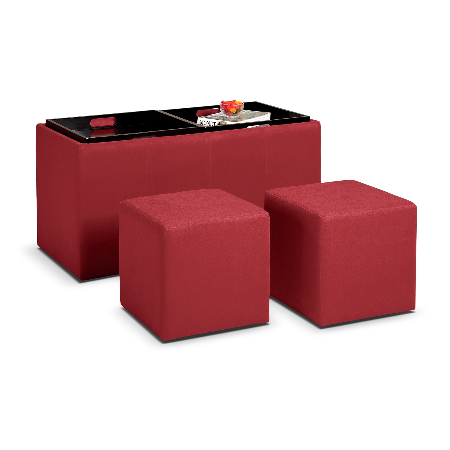 Accent and Occasional Furniture - Tiffany 3 Pc. Storage Ottoman with Trays