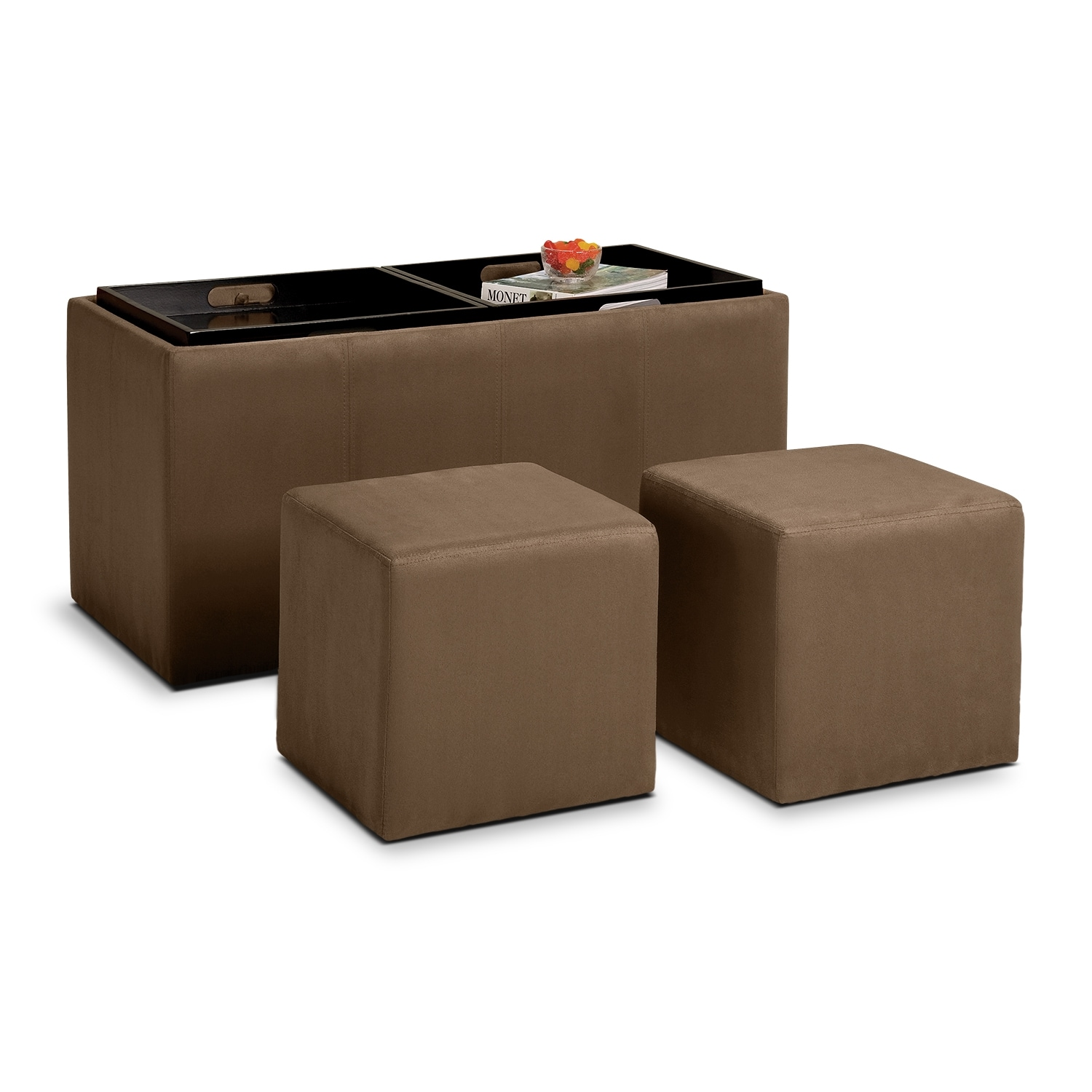 Accent and Occasional Furniture - Tiffany 3-Piece Storage Ottoman with Trays - Tan