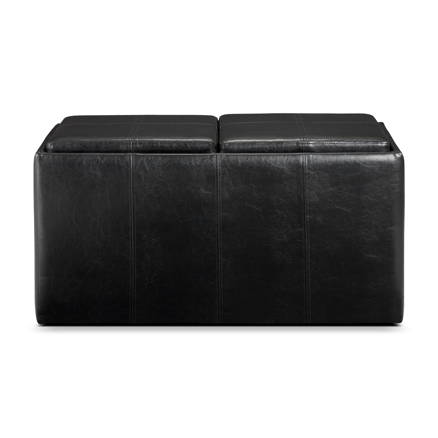 Click to change image. - Tiffany 3-Piece Storage Ottoman With Trays - Black Value City