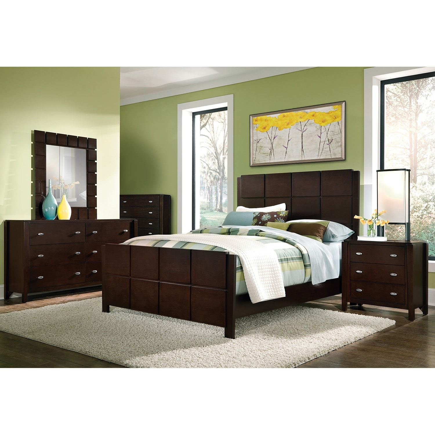 mosaic queen bed dark brown value city furniture