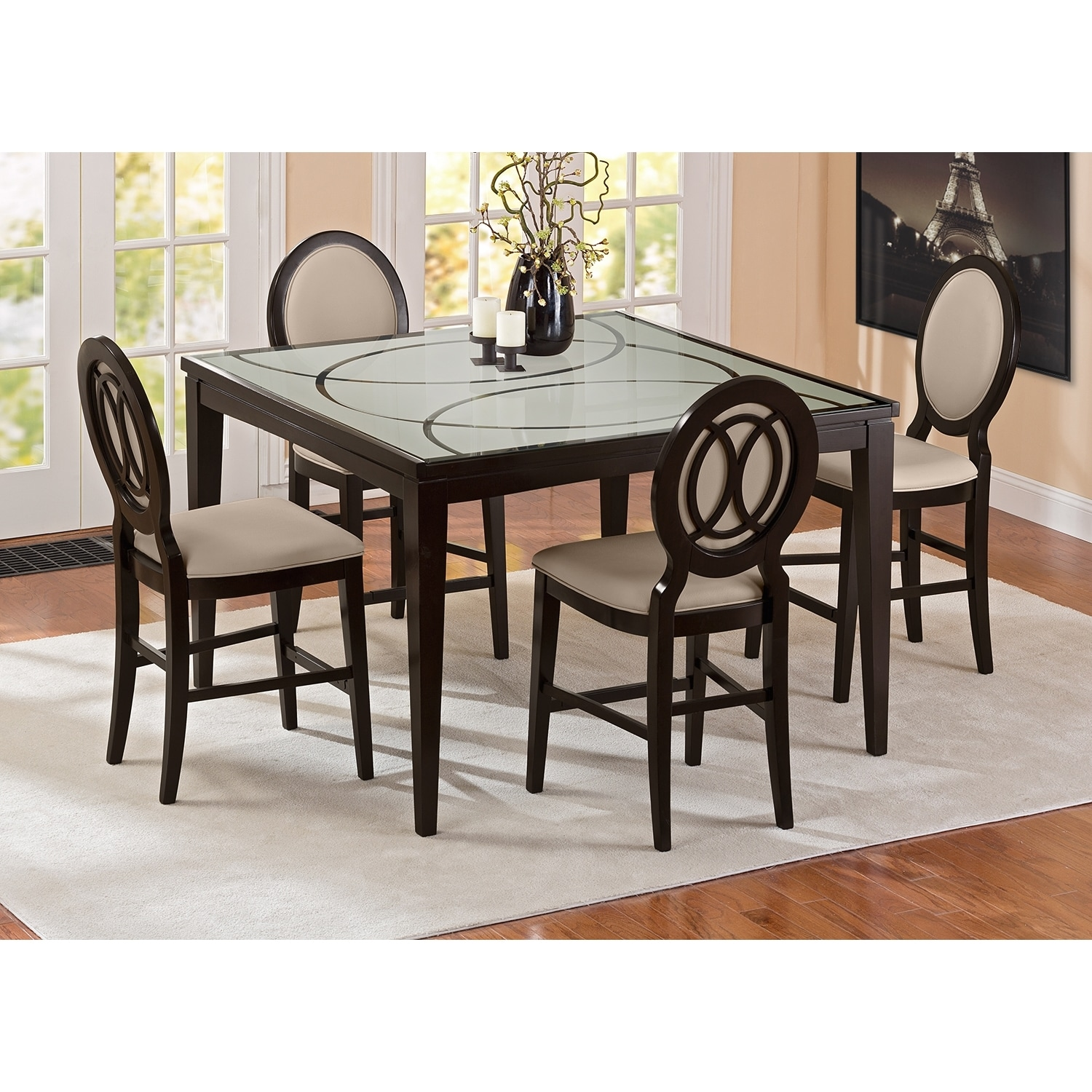 Cosmo Counter-Height Dining Table - Merlot | Value City Furniture ...