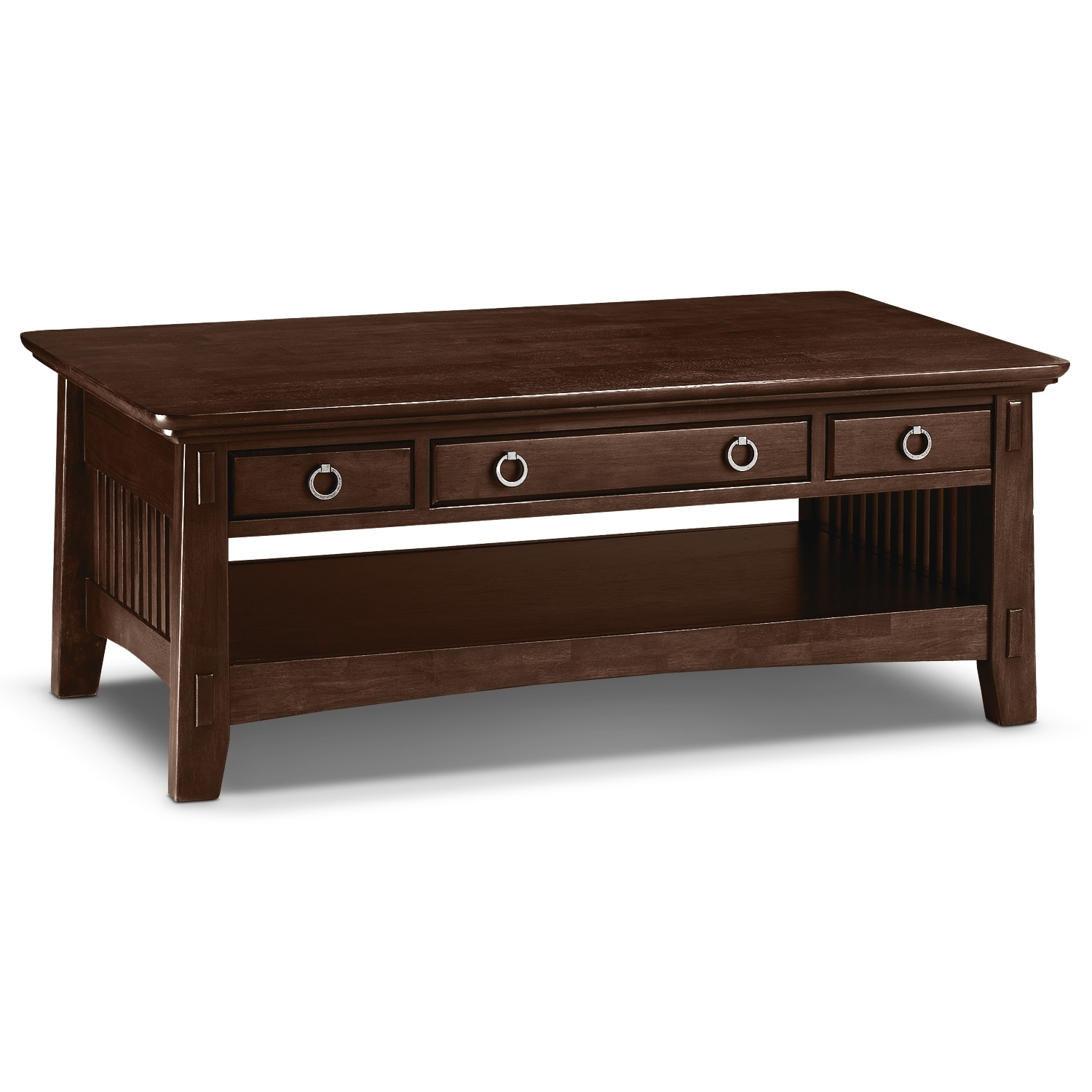 Arts Crafts Dark Cocktail Table With Shelf Value City Furniture