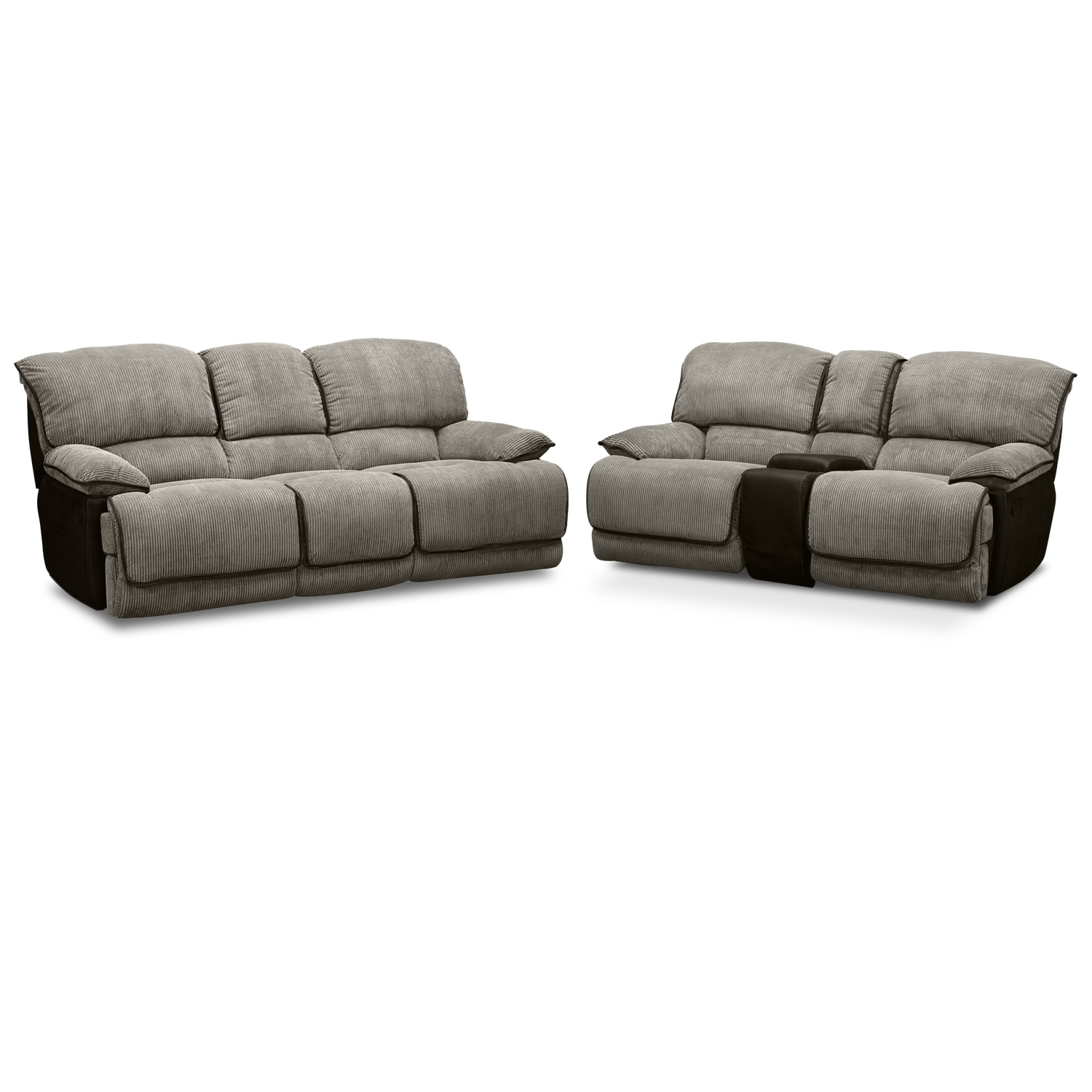 Laguna Reclining Sofa and Gliding Reclining Loveseat Set - Steel