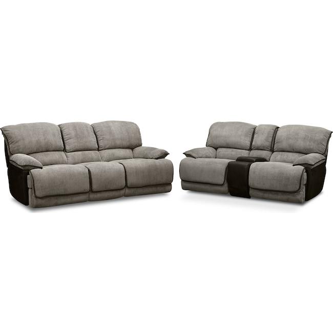 Living Room Furniture - Laguna Reclining Sofa and Gliding Reclining Loveseat Set - Steel