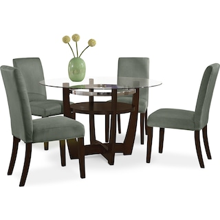 Alcove Dinette with 4 Side Chairs - Sage