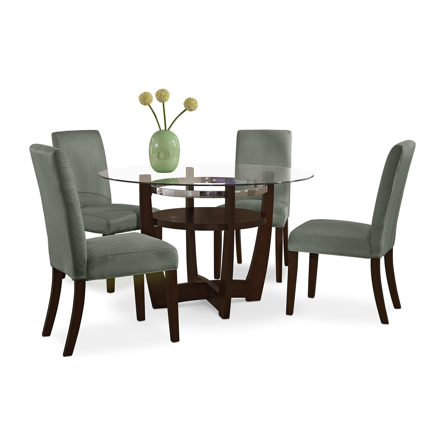 Dining Room Furniture   Alcove Dinette With 4 Side Chairs   Sage