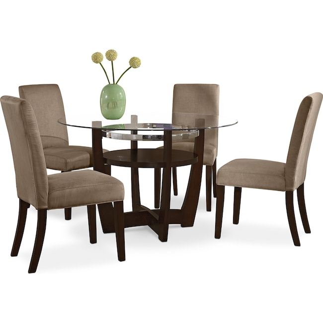 Dining Room Furniture Alcove Dinette With 4 Side Chairs Beige