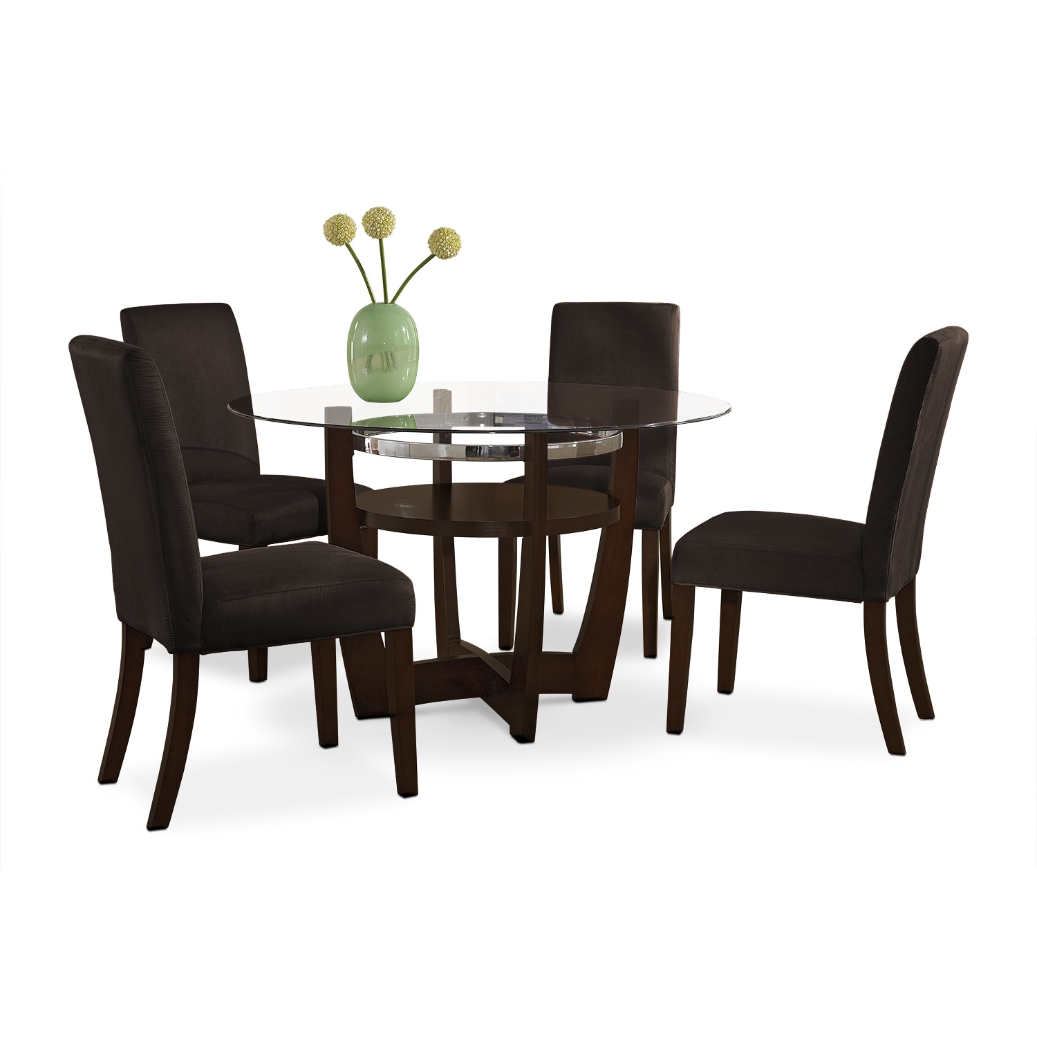Dining Room Furniture - Alcove Dinette with 4 Side Chairs - Chocolate
