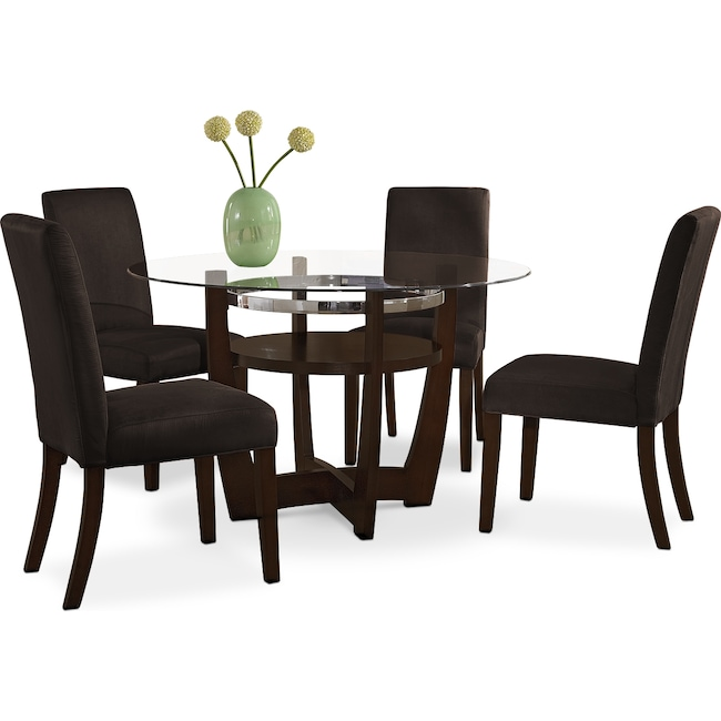 Alcove Dinette With 4 Side Chairs - Chocolate | Value City Furniture