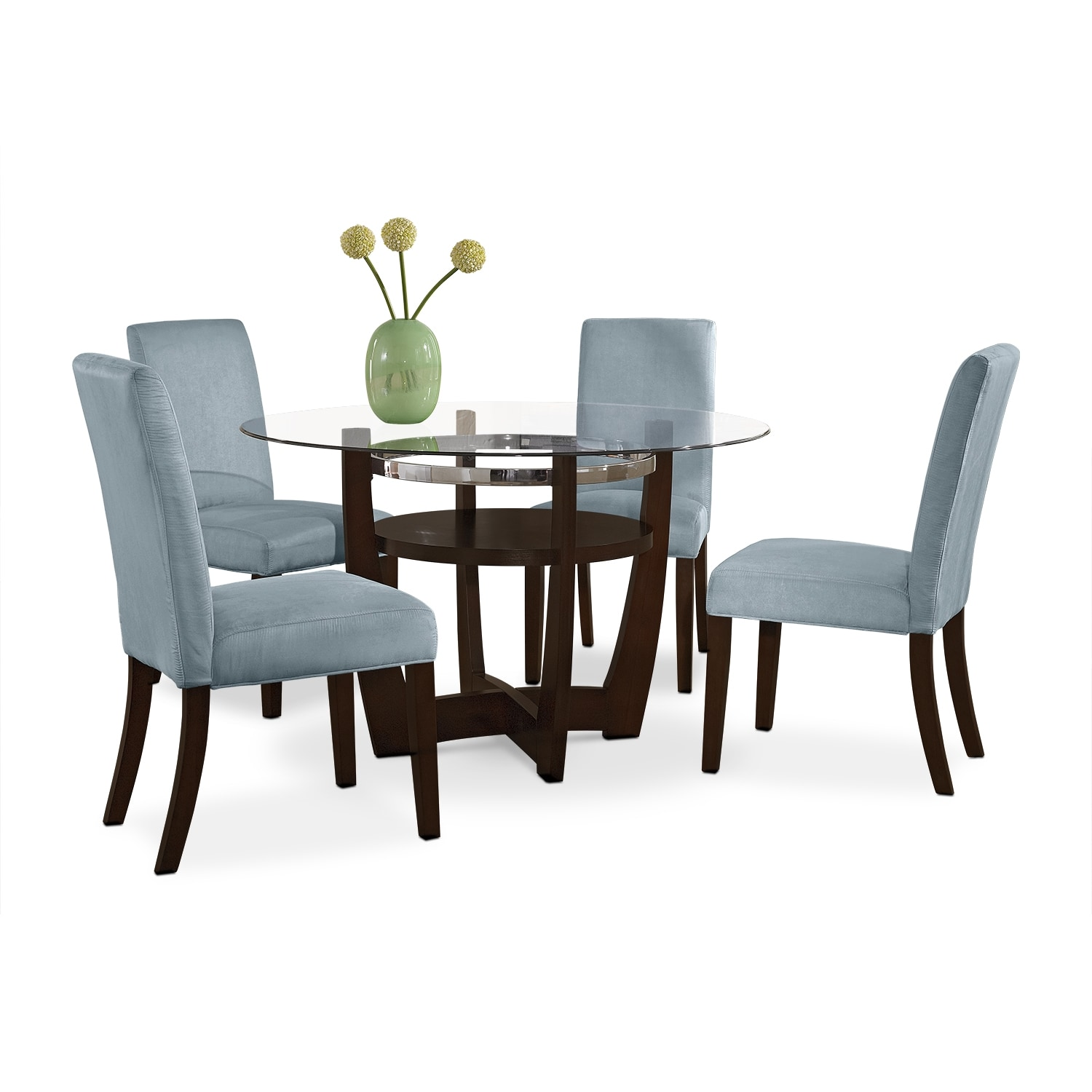 Dining Room Furniture - Alcove Dinette with 4 Side Chairs - Aqua