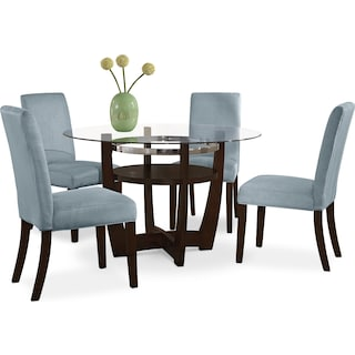 Alcove Dinette with 4 Side Chairs - Aqua