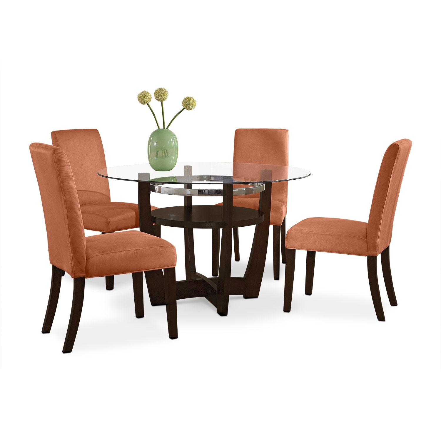 Dining Room Furniture - Alcove Dinette with 4 Side Chairs - Orange
