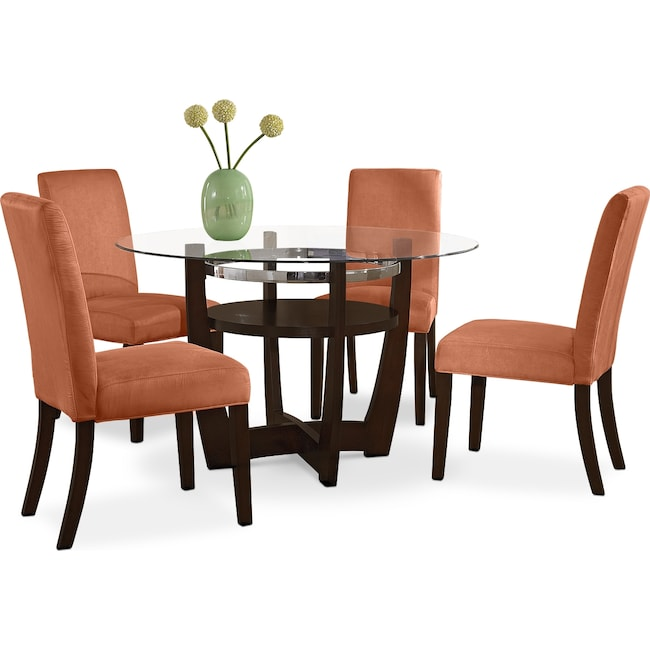 Dining Room Furniture Alcove Dinette With 4 Side Chairs Orange