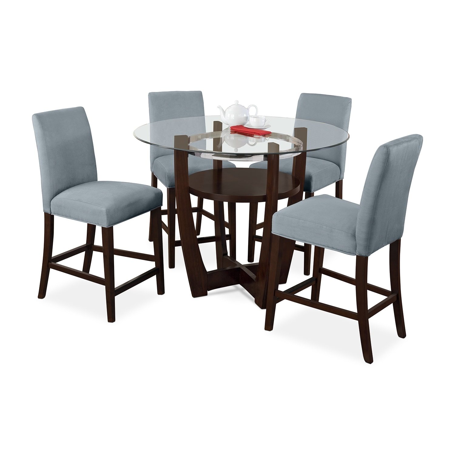 Dining Room Furniture - Alcove Counter-Height Dinette with 4 Side Chairs - Aqua