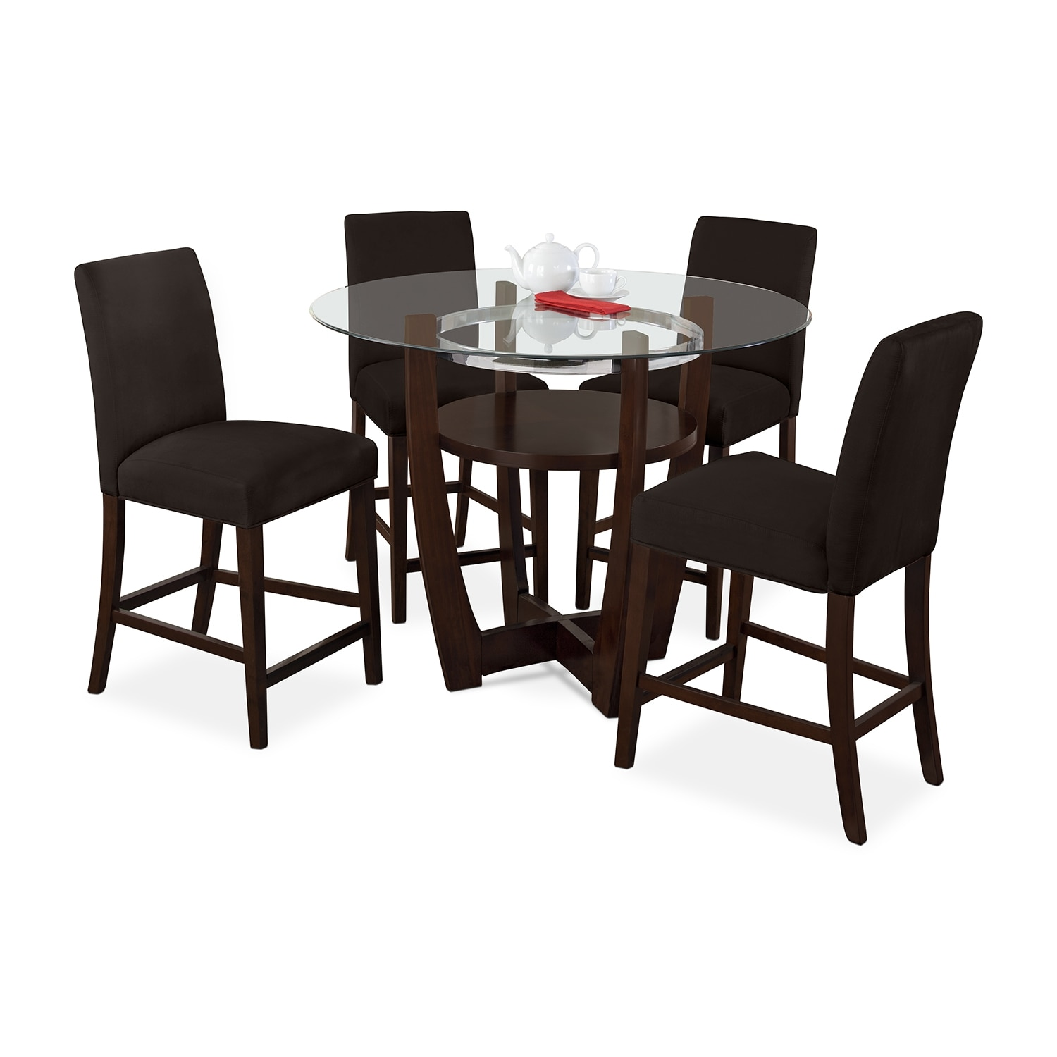 Dining Room Furniture - Alcove Counter-Height Dinette with 4 Side Chairs - Chocolate