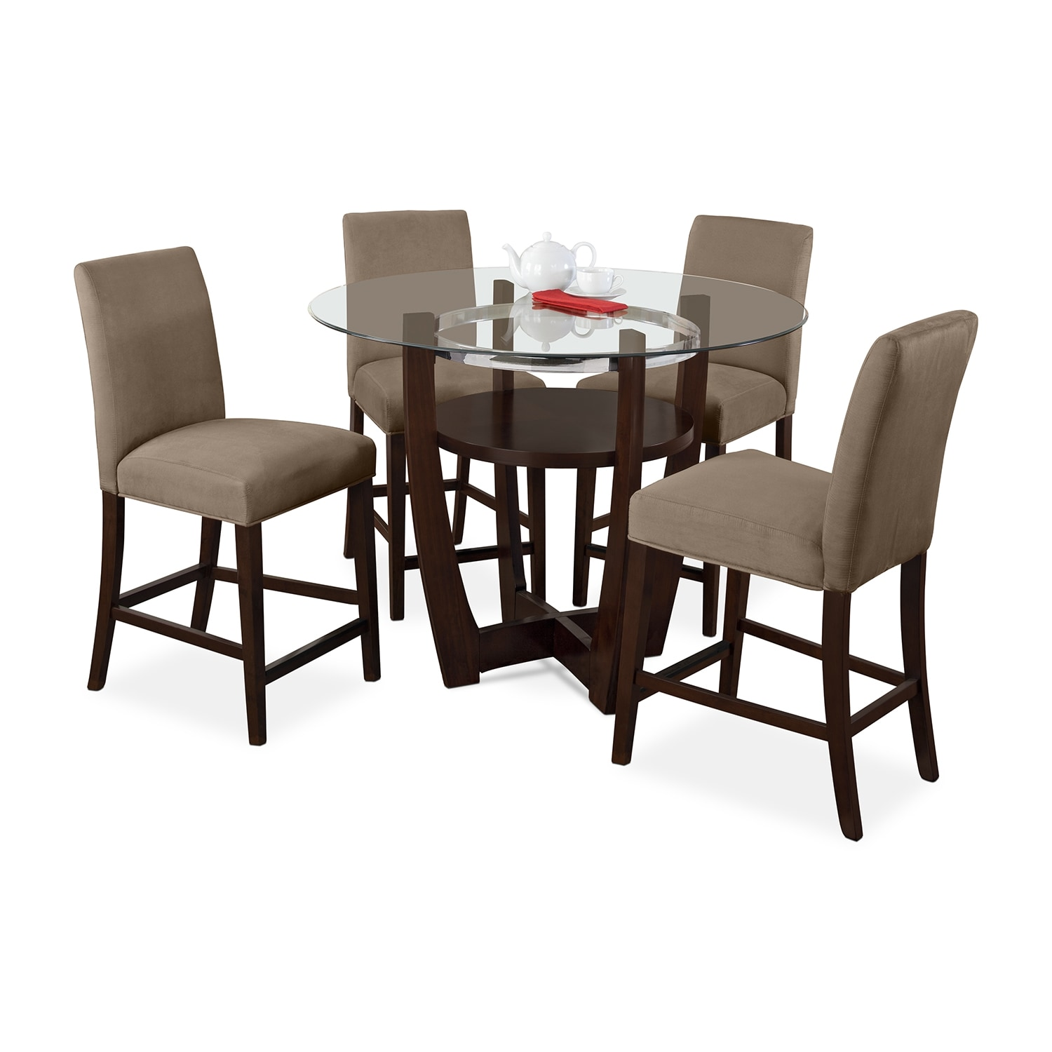 Dining Room Furniture - Alcove Counter-Height Dinette with 4 Side Chairs - Beige