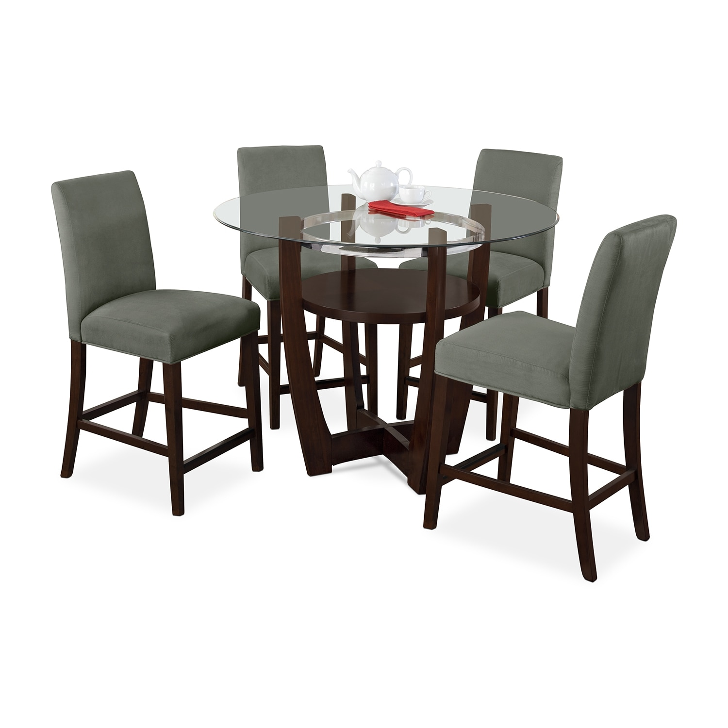 Alcove Counter-Height Dinette with Four Side Chairs - Sage