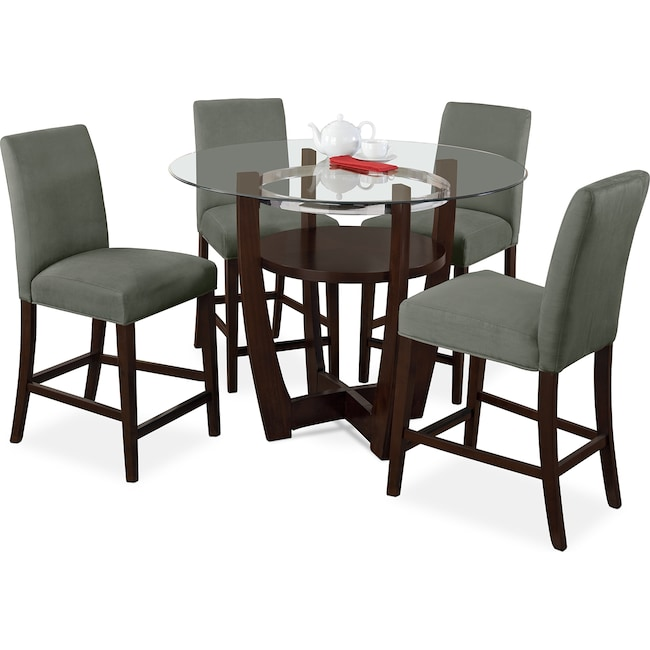 Alcove Counter-Height Dinette With 4 Side Chairs - Sage | Value