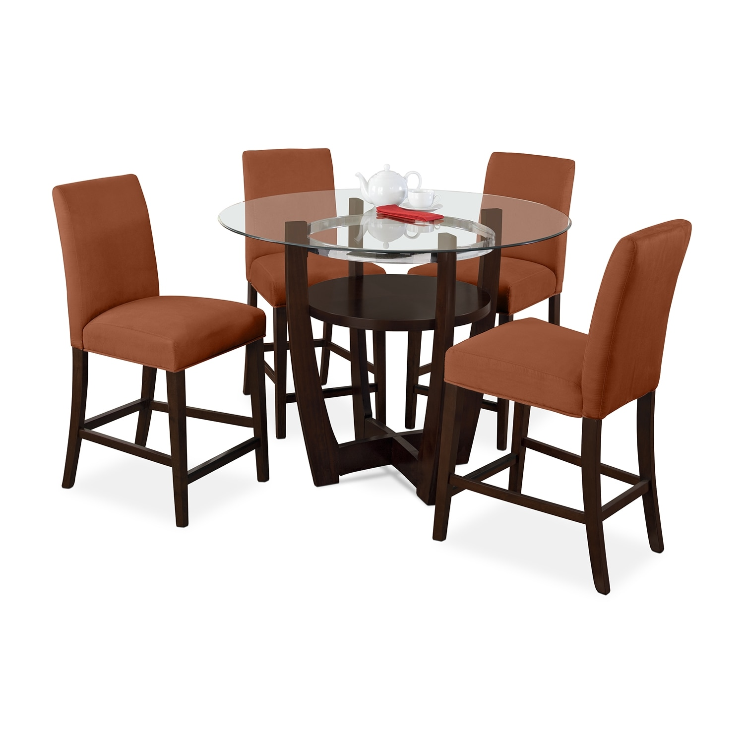 Dining Room Furniture - Alcove Counter-Height Dinette with 4 Side Chairs - Orange