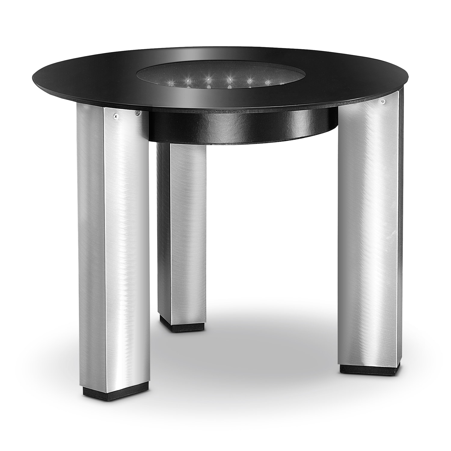 City Lights End Table - Silver and Black