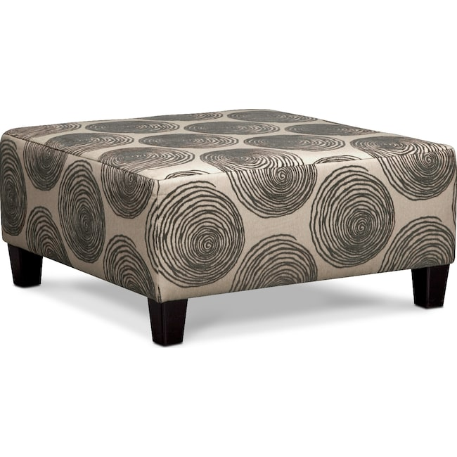 Living Room Furniture - Cordelle Cocktail Ottoman - Gray