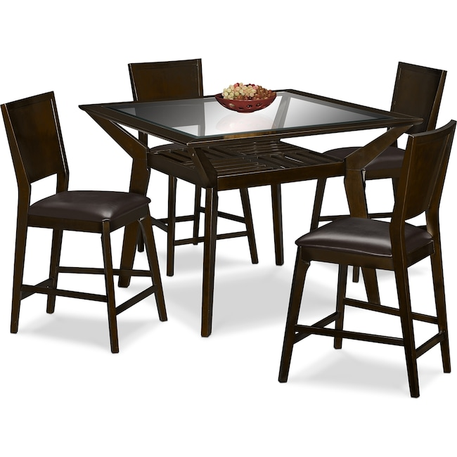 Dining Room Furniture - Mystic Counter-Height Table and 4 Chairs - Merlot and Chocolate