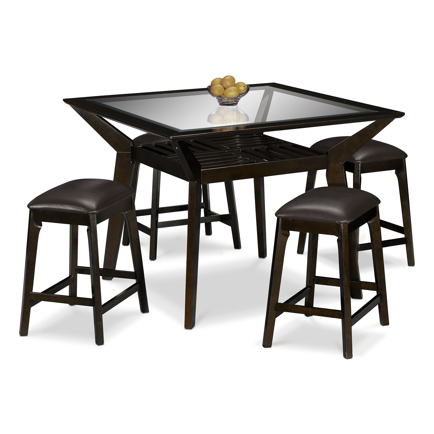 Dining Room Furniture - Mystic 5 Pc. Counter-Height Dinette w/ 4 Backless Stools