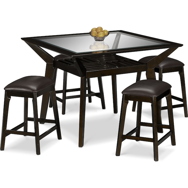 Dining Room Furniture - Mystic Counter-Height Table and 4 Backless Stools - Merlot and Chocolate