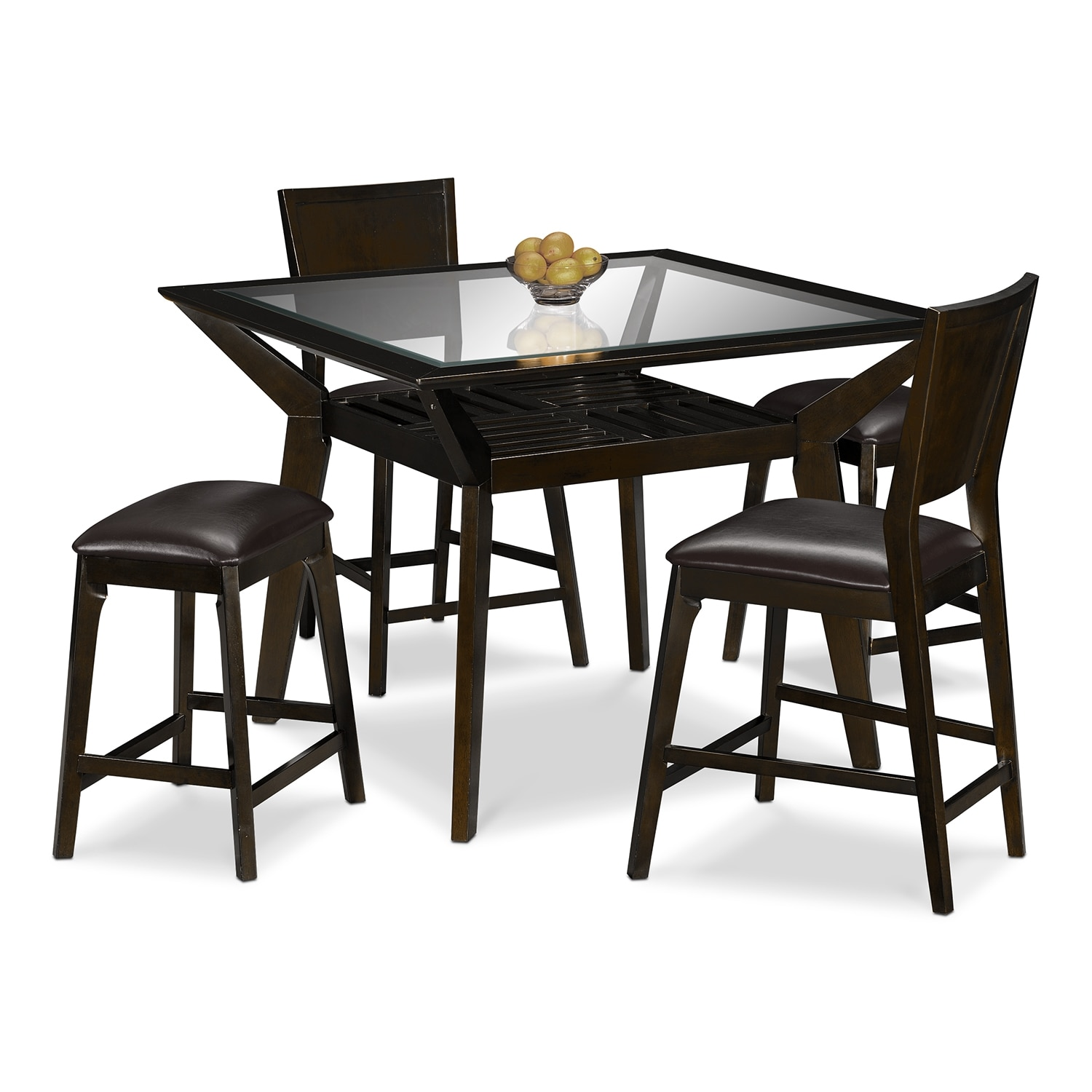 Dining Room Furniture - Mystic Counter-Height Table, 2 Chairs and 2 Backless Stools - Merlot and Chocolate