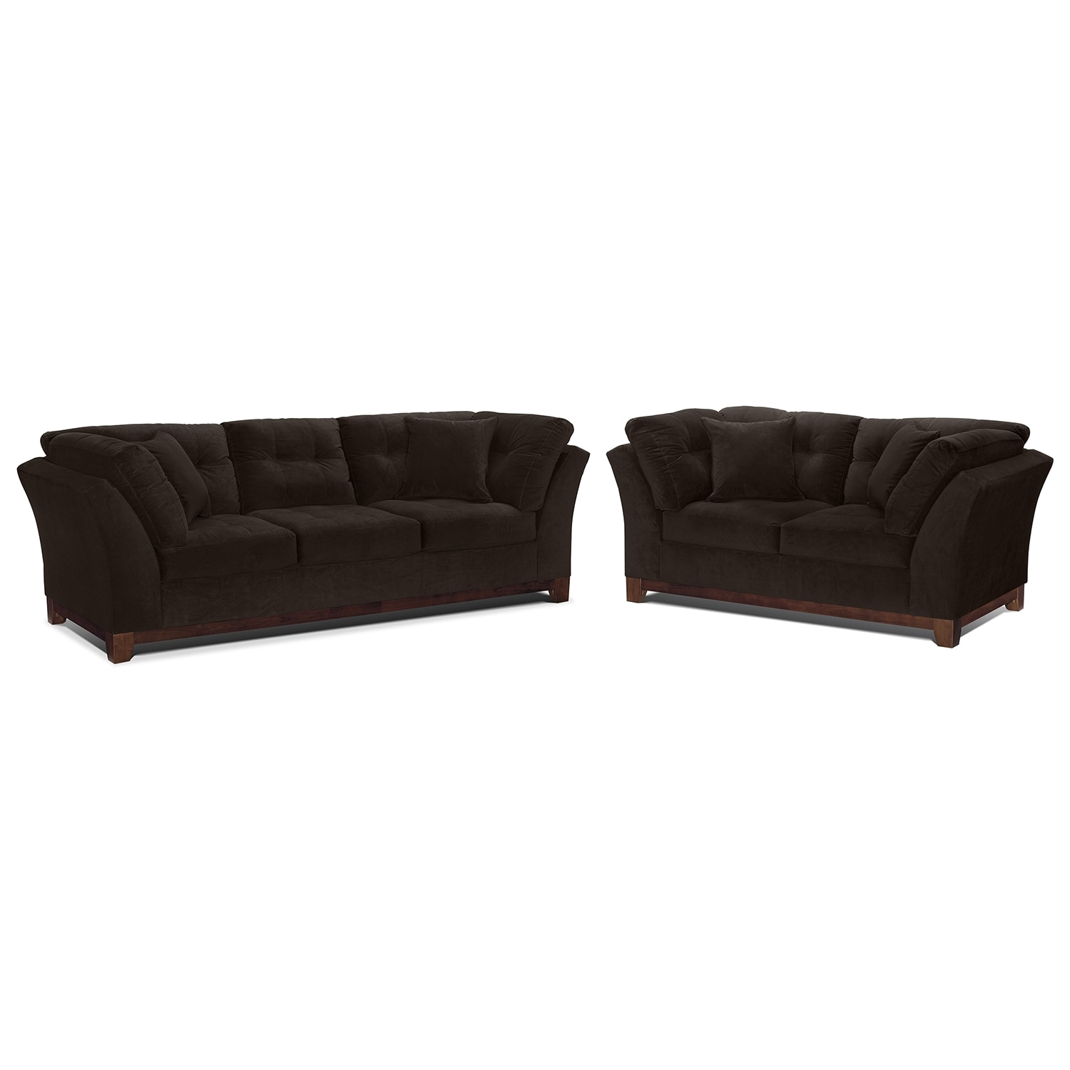 Living Room Furniture - Solace Chocolate 2 Pc. Living Room