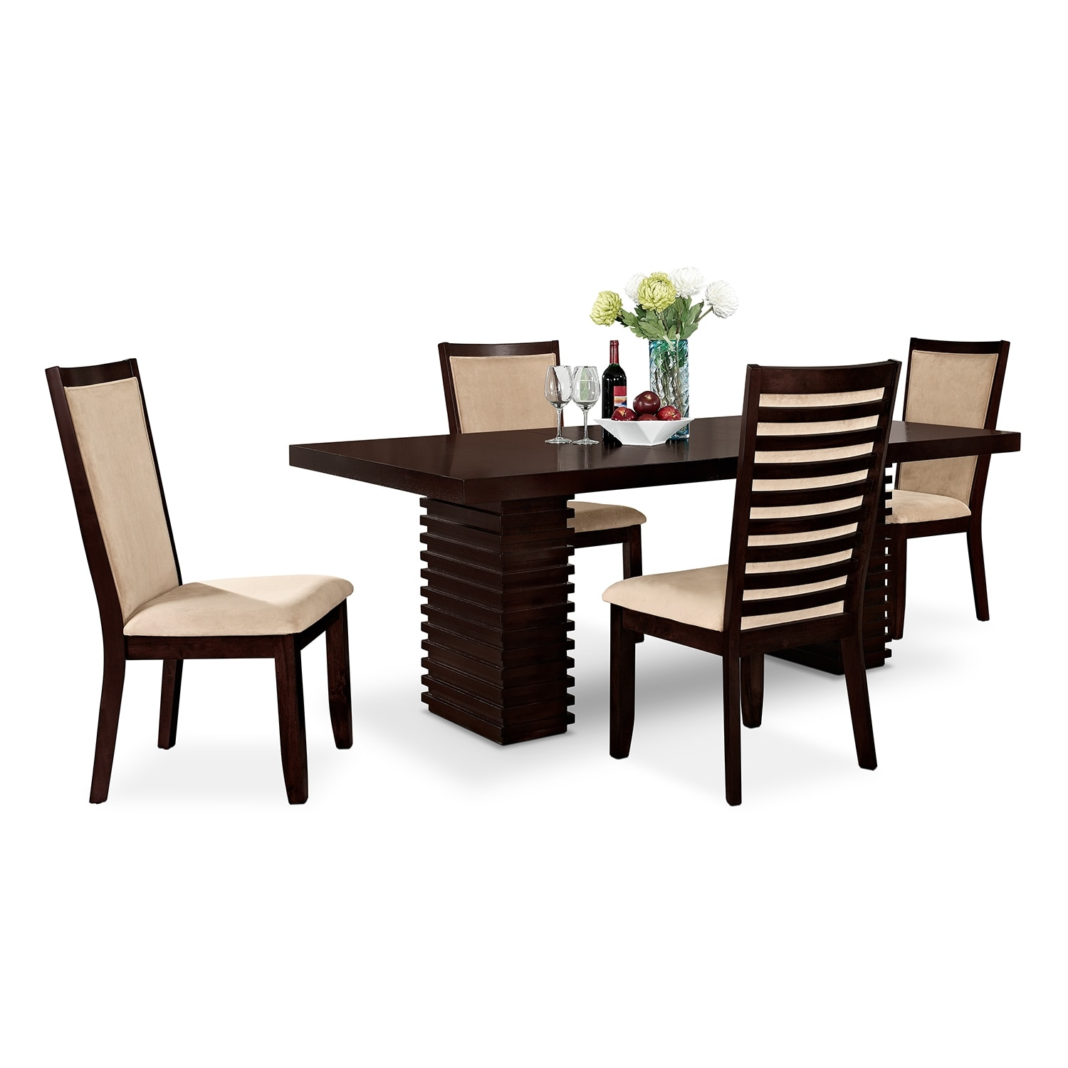 dining room furniture paragon table and 4 chairs merlot and camel