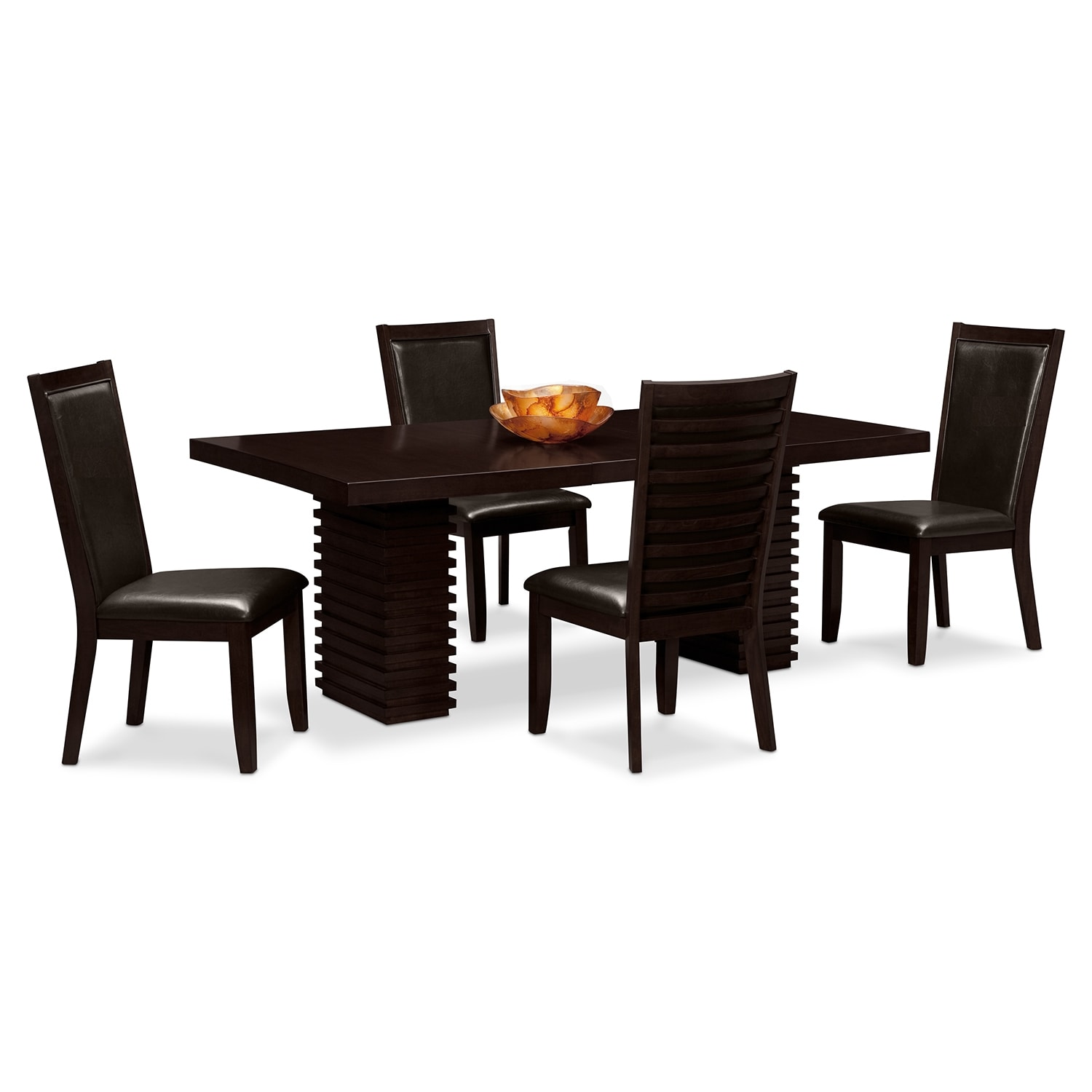 Paragon Table and 4 Chairs Merlot and Brown