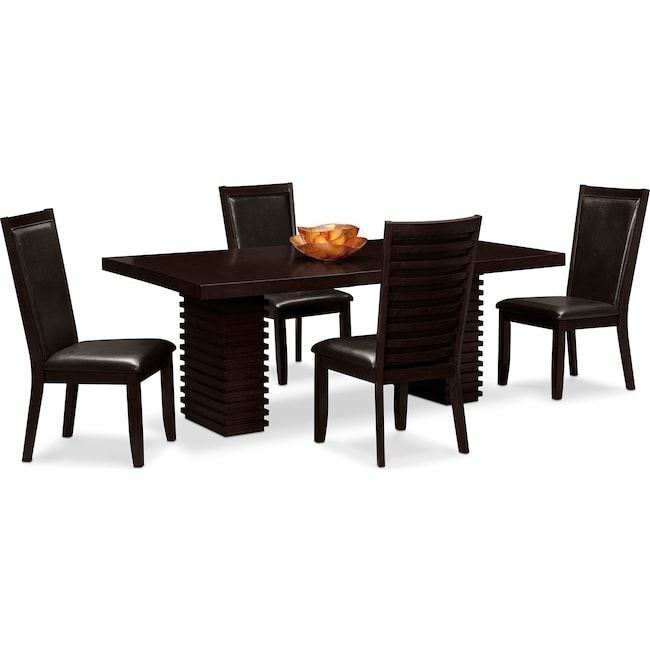Dining Room Furniture - Paragon Table and 4 Chairs - Merlot and Brown