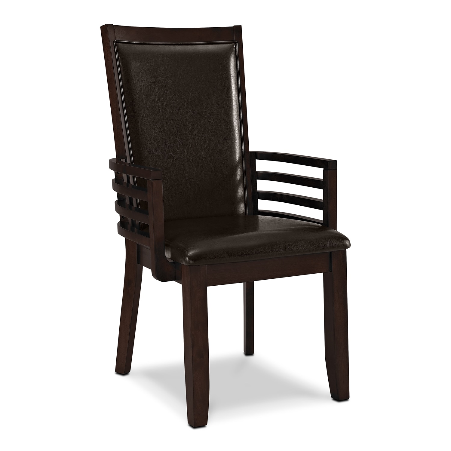 Paragon arm chair brown value city furniture for Dining room arm chairs