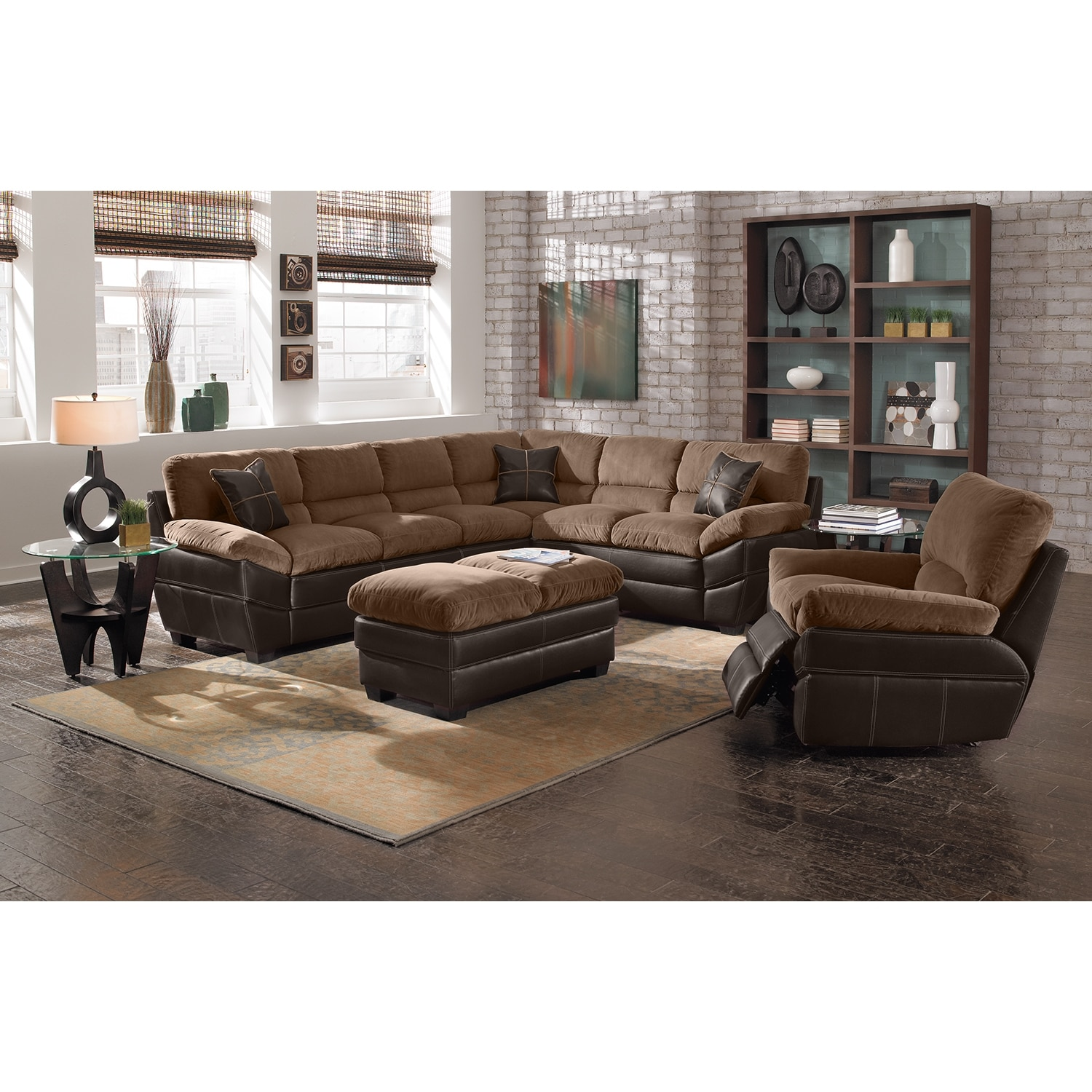 Chandler Beige Ii Upholstery 2 Pc Sectional And Cocktail Ottoman Value City Furniture