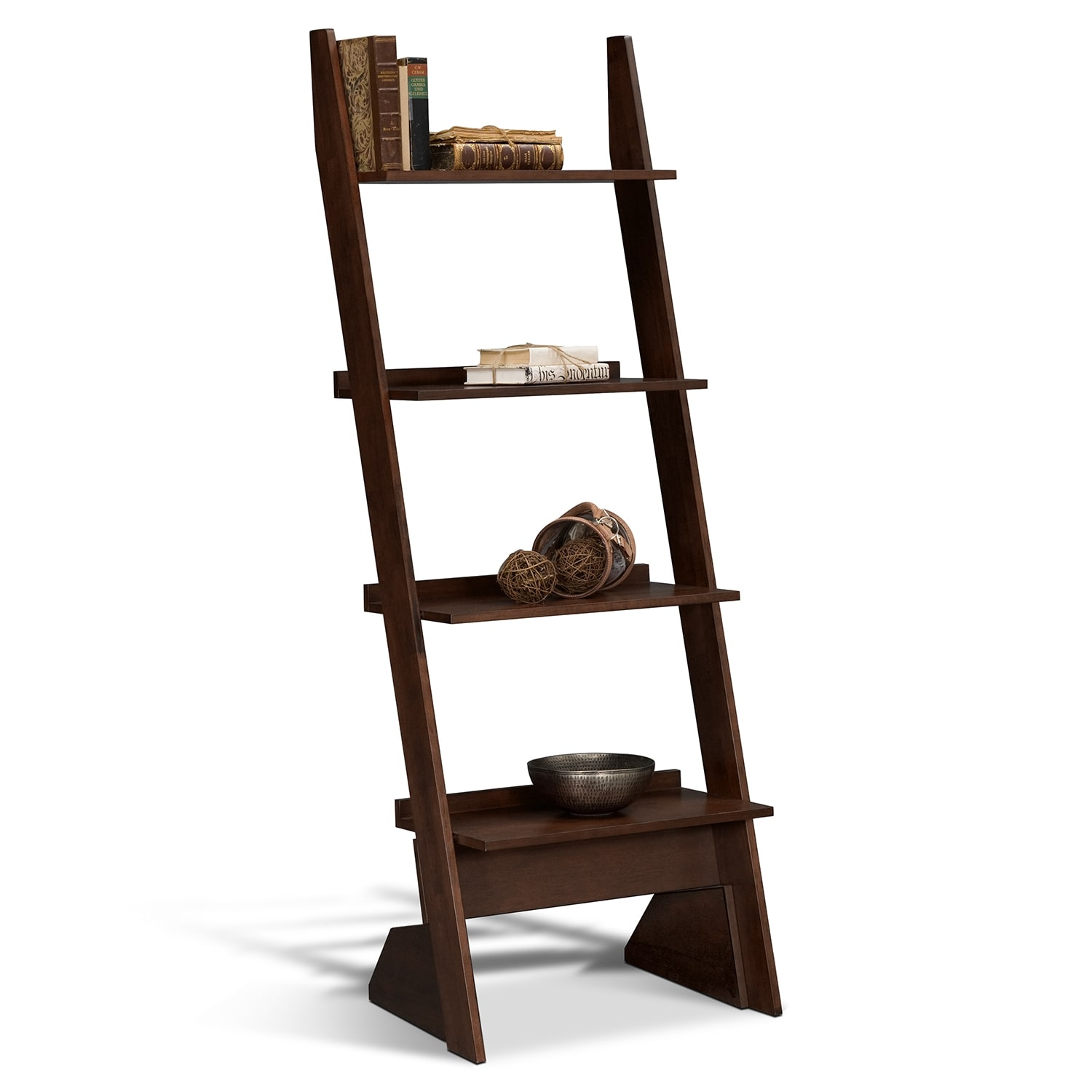 Accent and Occasional Furniture - Art & Crafts Leaning Bookshelf - Chocolate